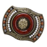 Men Western Boho Indian Native American Jeans Vintage Bead Belt Buckle Brass