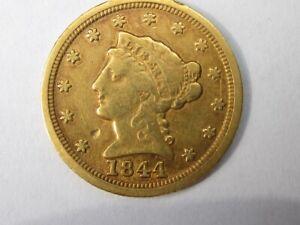1844-D LIBERTY HEAD QUARTER EAGLE $2.5 DOLLAR GOLD 17,332 MINTAGE NICE RARE COIN