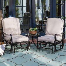 3 Piece Khaki Cushion Patio Glider Seating Bistro Set Outdoor Home Furniture
