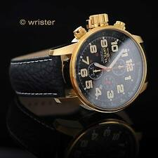 Invicta Force Aviator 18k Gold Black Leather Chronograph Tachymeter Men's Watch