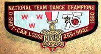 O-SHOT-CAW LODGE 265 SOUTH FLORIDA AREA OA 75TH NOAC 1990 DANCE CHAMPS FLAP GMY