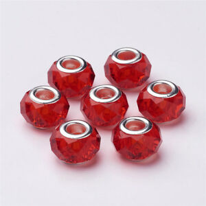 100 Pcs Silver Color Brass Core Handmade Glass European Large Hole Beads 14x8mm