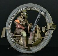 1:35 Resin Figure Model Kit Unpainted Soldier With Monowheel Motorcycle WWII