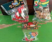 Lot of 3 Vintage Ornaments: Rocking Horse, Locomotive, Marionette NIP W/DM Tag