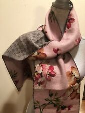 NEW GUCCI PINK BLOOMS REVERSIBLE GG 100% WOOL MiniOrophin SCARF SCARVES WRAP