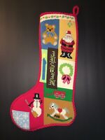 Christmas Stocking Needlepoint Red Santa Rocking Nutcracker Patchwork Complete