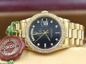 Mens Rolex Day-Date President 18K Gold Watch Black Diamond Dial Bezel 18038 1988