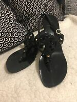 🔥 TORY BURCH $275  2 black leather logo mid heel sandals Size 9.5 🔥