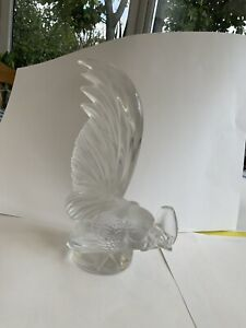 Cristal Lalique Rooster Bird Height 21 Cm Car Mascot Or Paperweight