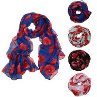 Infinity Scarf Women Soft Voile Scarf Poppy Flower Long Wrap Shawl Scarves Stole