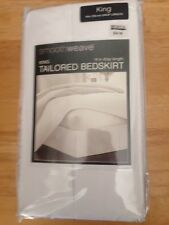 "BBB Smoothweave White King Tailored Bedskirt~14"" Drop Length~78""x80""~MSRP $34.99"