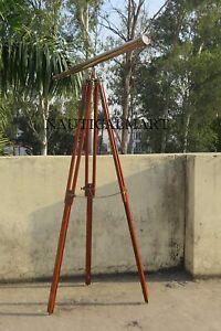 """Nautical Antique Brass Harbor Master Floor Standing Telescope 60"""" Nautical Decor"""