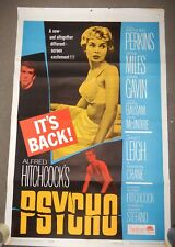 Vintage MOVIE POSTER 27x41~ PSYCHO R-1965~Alfred Hitchcock,Janet Leigh