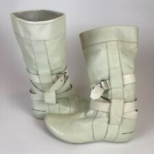 Fornarina Womens Boots White Mid Calf Buckle Straps Pull Ons 6 EUR 37