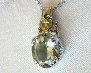 Prasiolite Green Amethyst Pendant and Chain, 14K and 925 Sterling Silver, 4.41ct