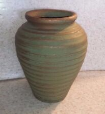 "GREEN GOLD EMBOSSED TEXTURED STRIPES VASE 7.25"" STONEWARE POTTERY Arts & Crafts"
