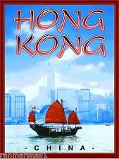 Hong Kong Junk Boat China Chinese Travel Art Poster Advertisement