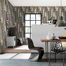 NATURAL & BLUE WOOD BOARD PANEL WALLPAPER - RASCH 203707 - NEW EMBOSSED FREE P+P