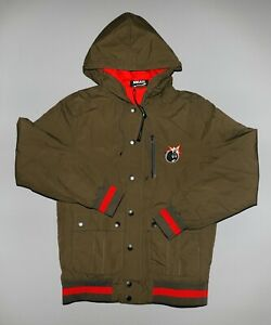 The Hundreds Embroidered Atom Bomb Hooded Black Jacket Mens Small