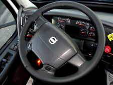 FITS VOLVO TRUCK VNL 670 REAL BLACK ITALIAN LEATHER STEERING WHEEL COVER NEW