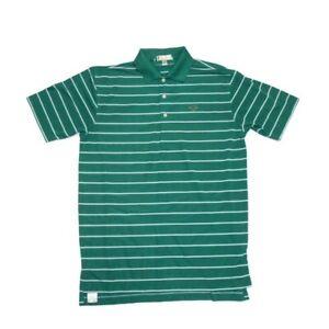 Peter Millar Summer Comfort Men's M Polo Shirt, Green Striped, Short Sleeve