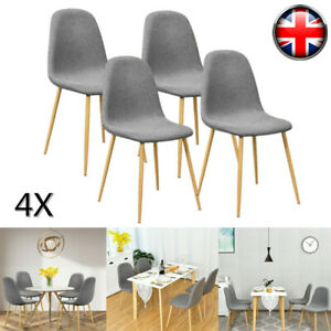 4x Dining Chairs Set Fabric Padded Seat Metal Legs Kitchen Chair Home Office UK