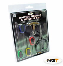 6 Piece Baiting Needle Set With Braid Scissors & Knot Puller Carp Fishing Tackle