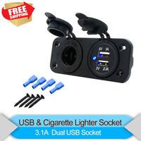 12V Car Dual USB Cigarette Lighter Socket Splitter Charger Adapter Boat Caravan
