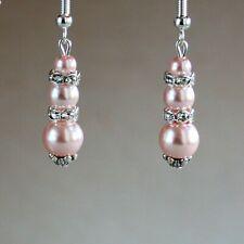 Pink blush pearls rhinestones silver wedding bridesmaid bridal drop earrings