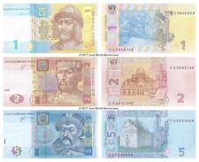 Ucraina 1 + 2 + 5 hryven Set di 3 BANCONOTE 3 PZ UNC