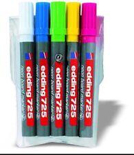 2 estuche con 5 marcadores eddin 725 neon para pizarras