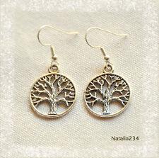 Earrings Tree of Life, Stailess Steel Hook
