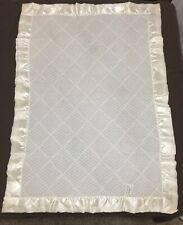 New listing Vintage Storktex Ivory White Quilted Floral Lace & Satin Baby Crib Blanket