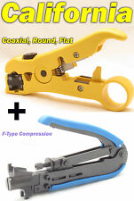 Compression Tool F RG59 RG6 RG11 Connector + Cable Coax Coaxial Crimper Stripper