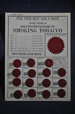 Ca 1910 Pick Your Best Girls Name and Win a Pound of Smoking Tobacco
