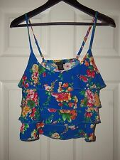 Women/'s Timing Blue Ruffled Floral Strap Tank Top Size Small NWT