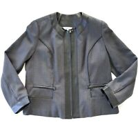 Noni B Size L Grey Black Full Zip Corporate Blazer Jacket Zipped Pockets Women's