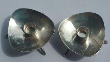 Vintage Pair Carl M Cohr Atla Denmark Silver Tone Candle Holders