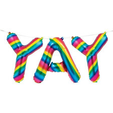 """Multi Coloured Rainbow Yay 16"""" Letters Foil Balloon Banner Party Decorations"""