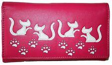 Mala Leather Medium Flapover Purse Style Poppy Cat design 316855 Colour Pink New
