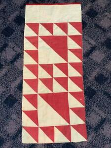 Antique Lady of The Lake Farmhouse Cutter Quilt Piece Red White 14.5 x 35  #1