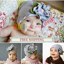 Grey Cotton Flower Baby Infant Toddler Boy Girl Hats Child Beanie