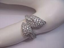 Stunning 14K White Gold Diamond Designer Leaf Ring Band