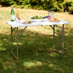 4ft Folding Table Camping Garden Fold Away Dining Serving Tables Buffet Car Boot