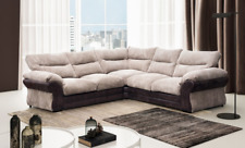Juno Large Corner Sofa Fabric Brown & Coffee Upholstered In Portobello Fabric