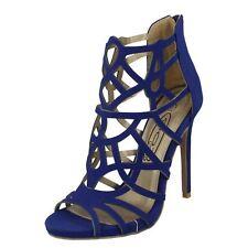 Ladies Spot on Fashion PEEP Toe Cut out Detail HEELS F10414 Navy (blue) UK 7 Standard