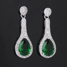 Pear Cut Green Emerald Women's Dangle 18K White Gold Filled Stud Earrings