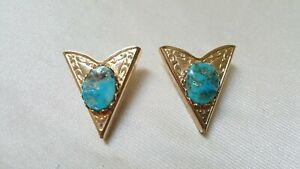 Gold Tone & Turquoise Inset Kollar Tips/Points --Screw On-Western Style Design