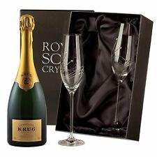 Krug Brut Champagne with Swarovski Crystal Flutes