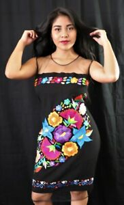 Womens Handmade Embroidered Mexican Dress Medium Large Vestido Bordado Mexicano